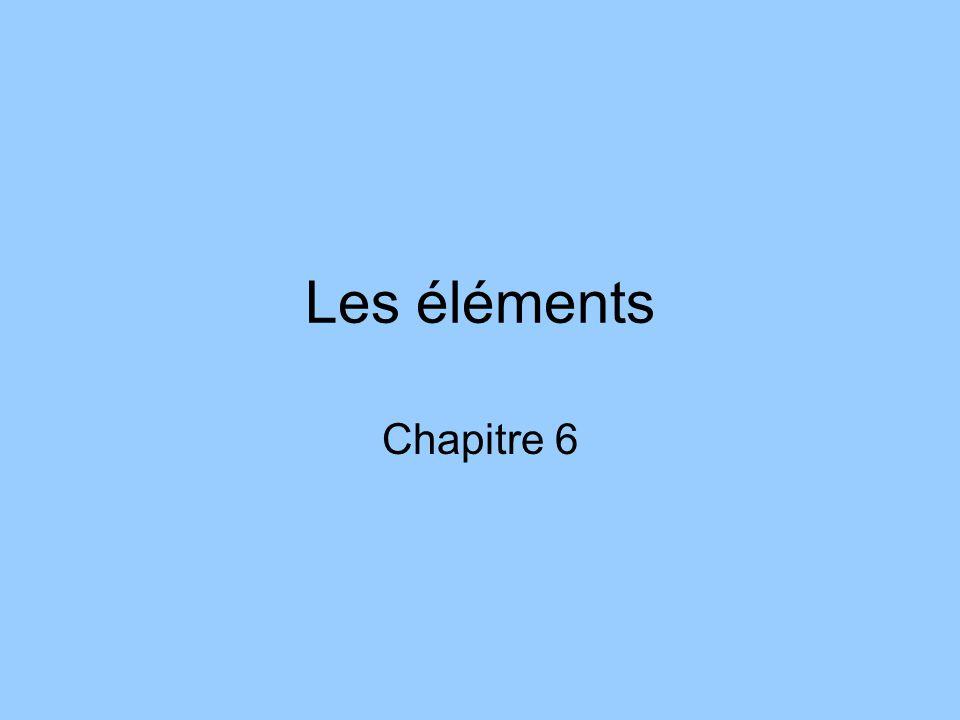 Les éléments Chapitre 6