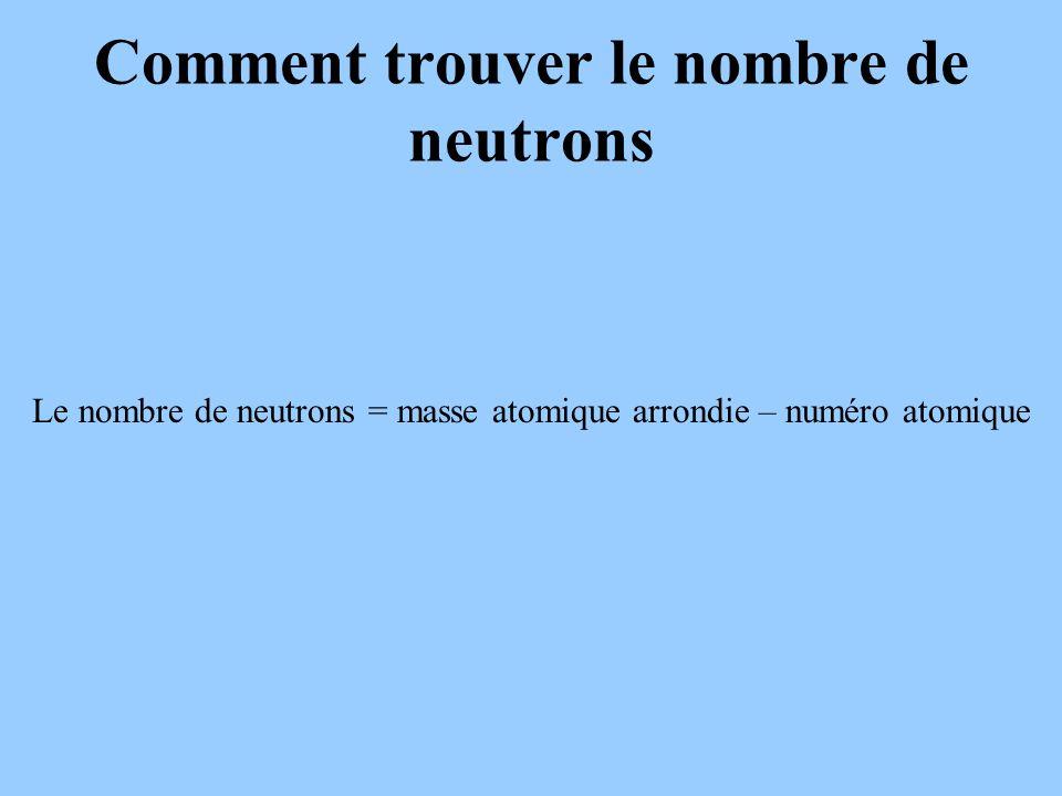 Comment trouver le nombre de neutrons