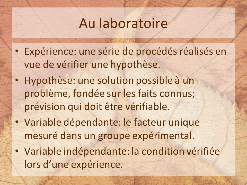 Au laboratoire Expérience: une série de procédés réalisés en vue de vérifier une hypothèse.