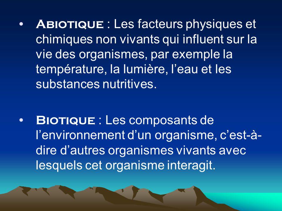 Abiotique : Les facteurs physiques et chimiques non vivants qui influent sur la vie des organismes, par exemple la température, la lumière, l'eau et les substances nutritives.