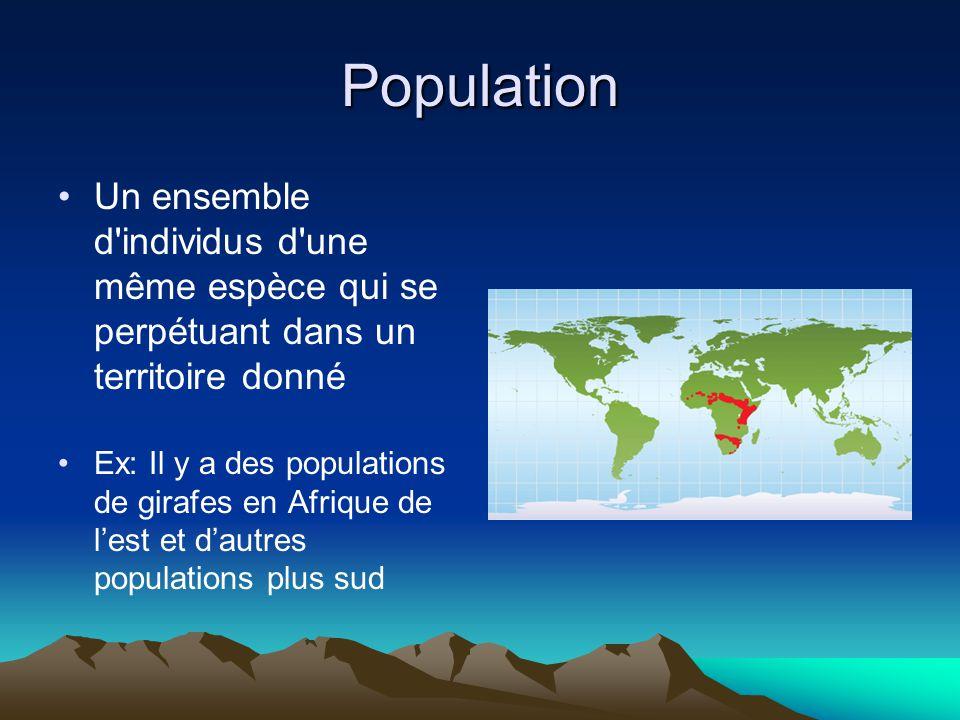 Population Un ensemble d individus d une même espèce qui se perpétuant dans un territoire donné.