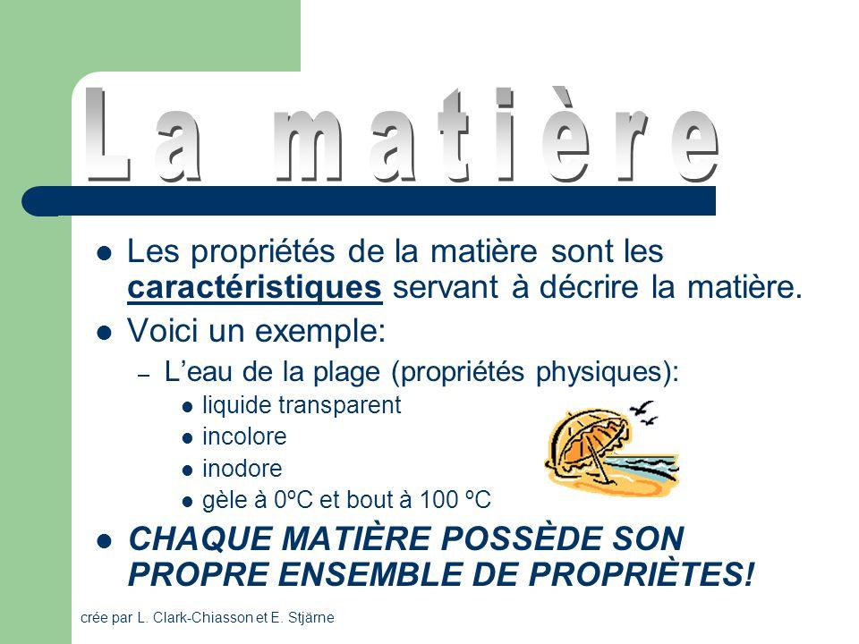 La matière Les propriétés de la matière sont les caractéristiques servant à décrire la matière. Voici un exemple: