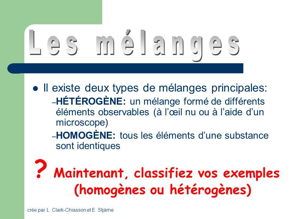 Maintenant, classifiez vos exemples (homogènes ou hétérogènes)