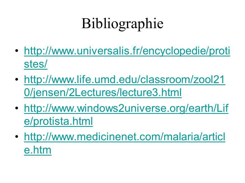 Bibliographie http://www.universalis.fr/encyclopedie/protistes/