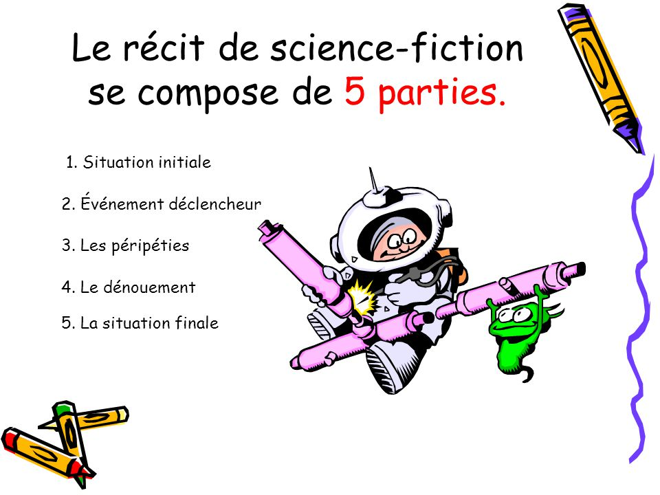 Le récit de science-fiction se compose de 5 parties.