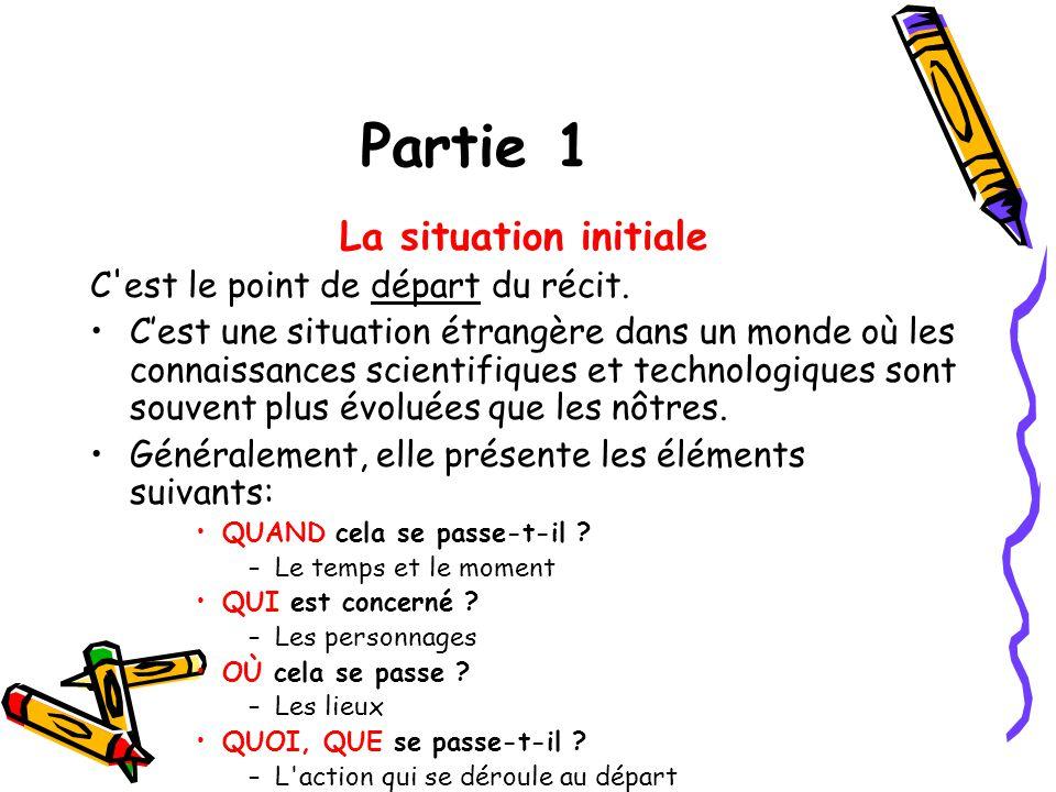 Partie 1 La situation initiale C est le point de départ du récit.