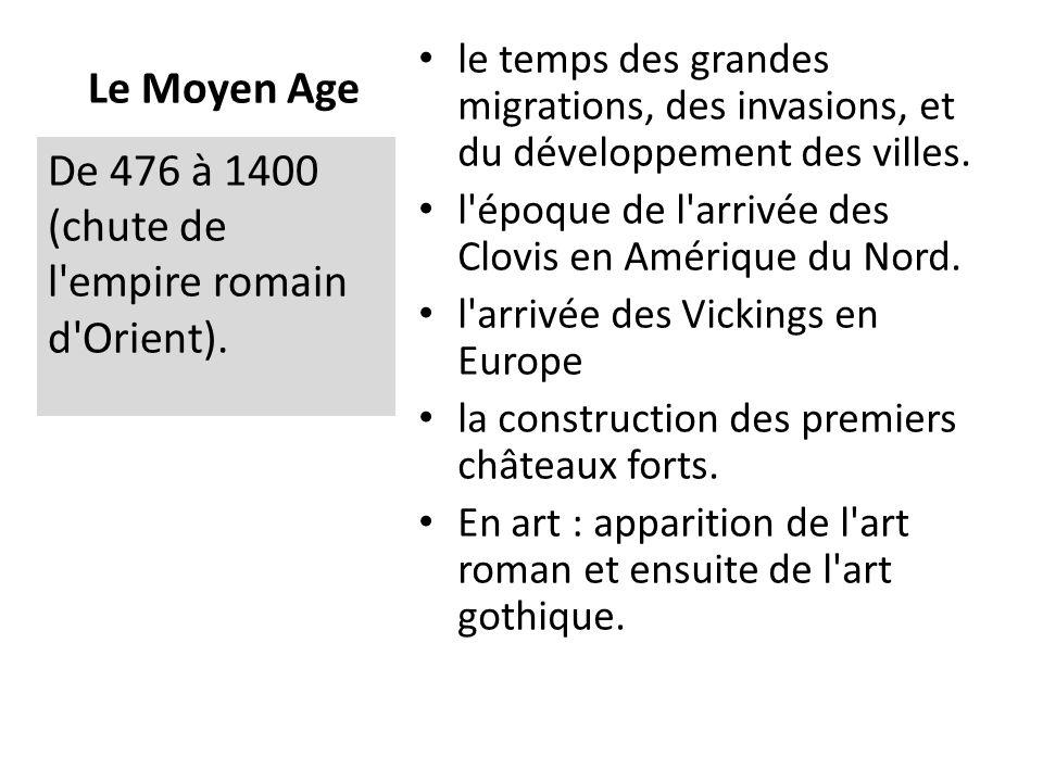De 476 à 1400 (chute de l empire romain d Orient).
