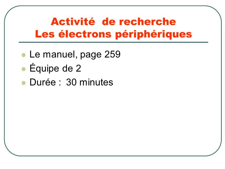 Activité de recherche Les électrons périphériques