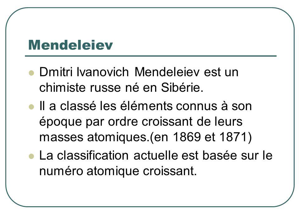 Mendeleiev Dmitri Ivanovich Mendeleiev est un chimiste russe né en Sibérie.