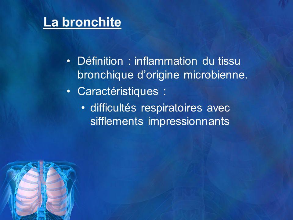 La bronchite Définition : inflammation du tissu bronchique d'origine microbienne. Caractéristiques :