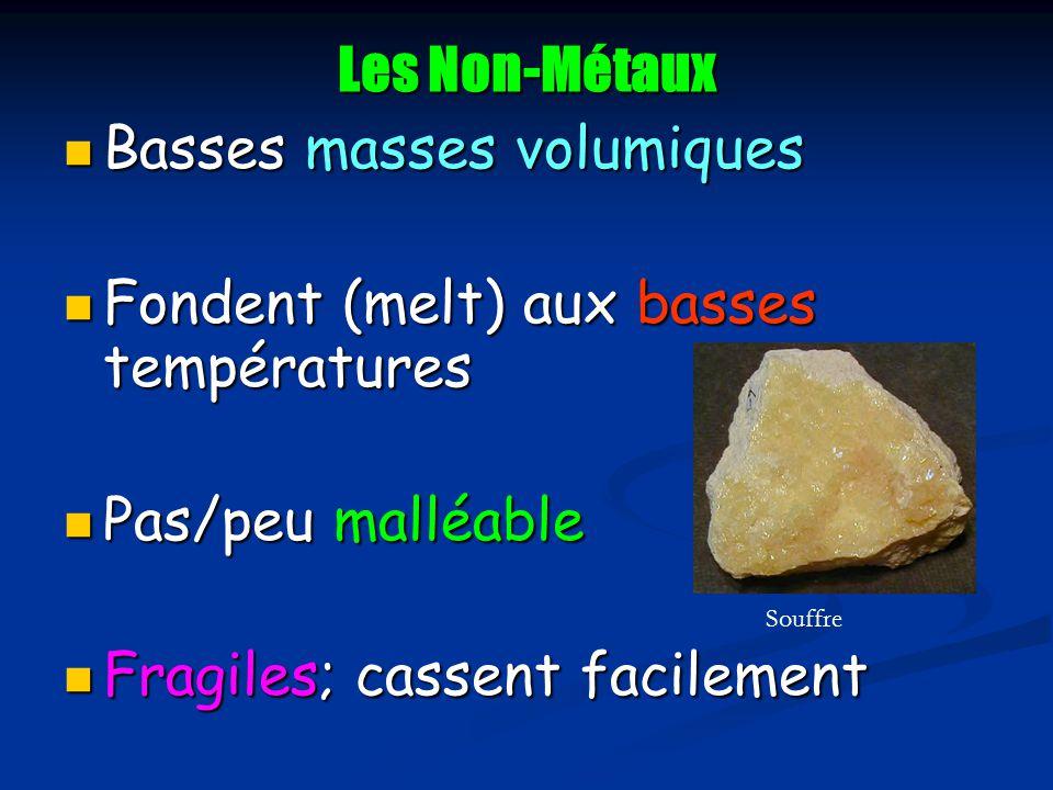 Basses masses volumiques Fondent (melt) aux basses températures