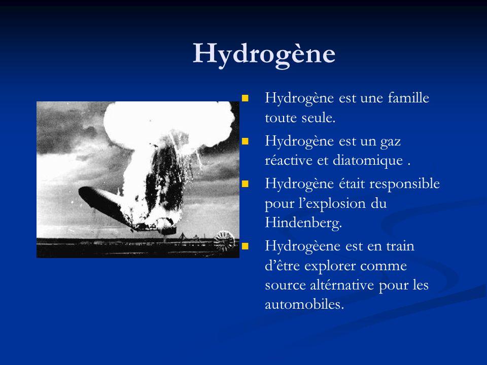 Hydrogène Hydrogène est une famille toute seule.