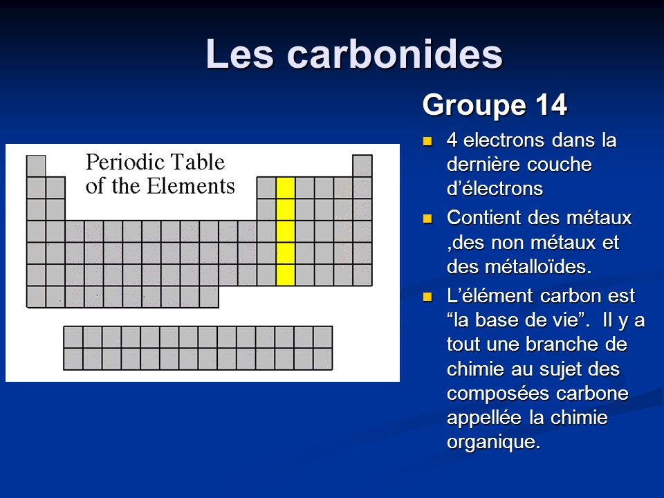 Les carbonides Groupe 14. 4 electrons dans la dernière couche d'électrons. Contient des métaux ,des non métaux et des métalloïdes.
