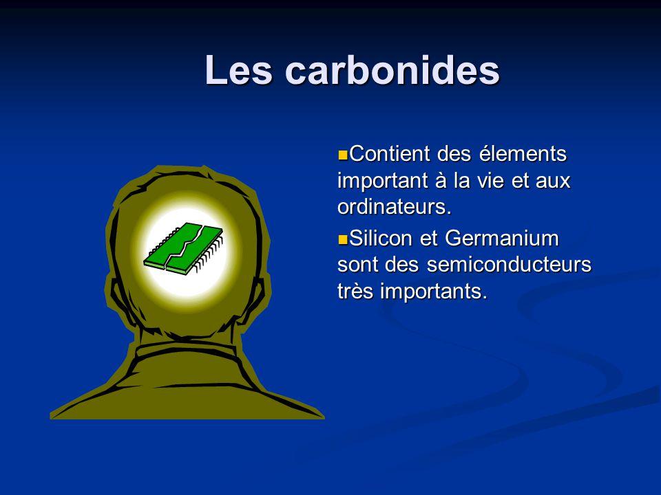 Les carbonides Contient des élements important à la vie et aux ordinateurs.