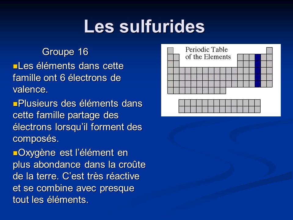 Les sulfurides Groupe 16. Les éléments dans cette famille ont 6 électrons de valence.