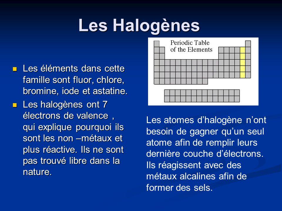 Les Halogènes Les éléments dans cette famille sont fluor, chlore, bromine, iode et astatine.
