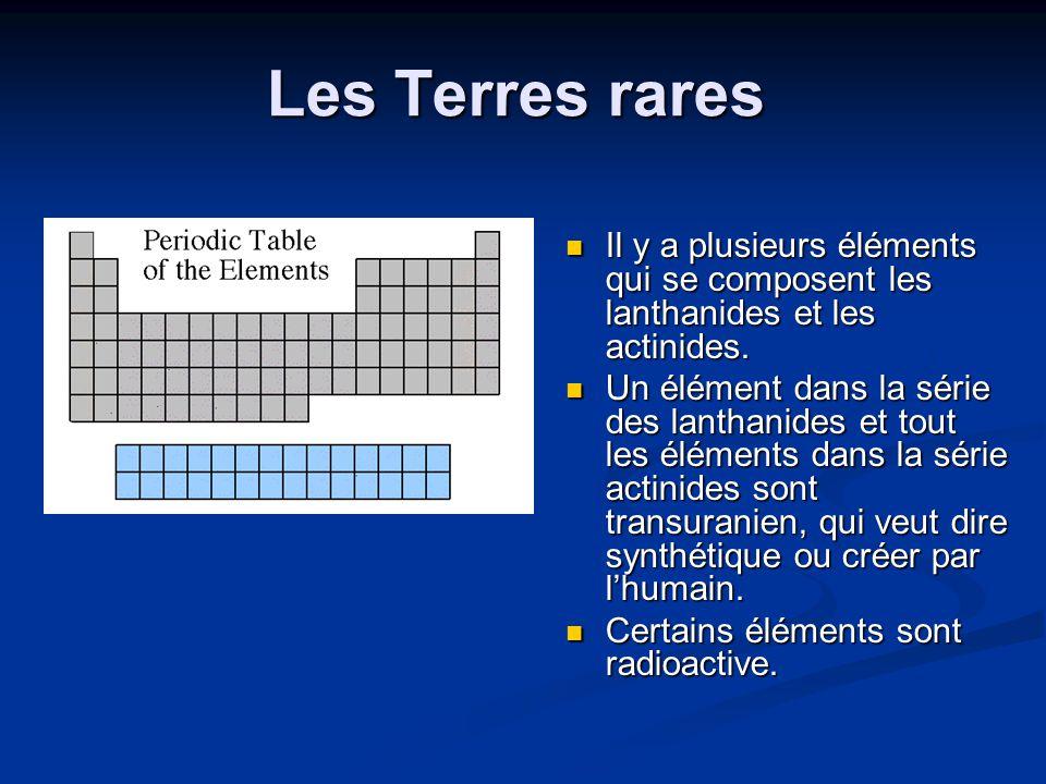 Les Terres rares Il y a plusieurs éléments qui se composent les lanthanides et les actinides.
