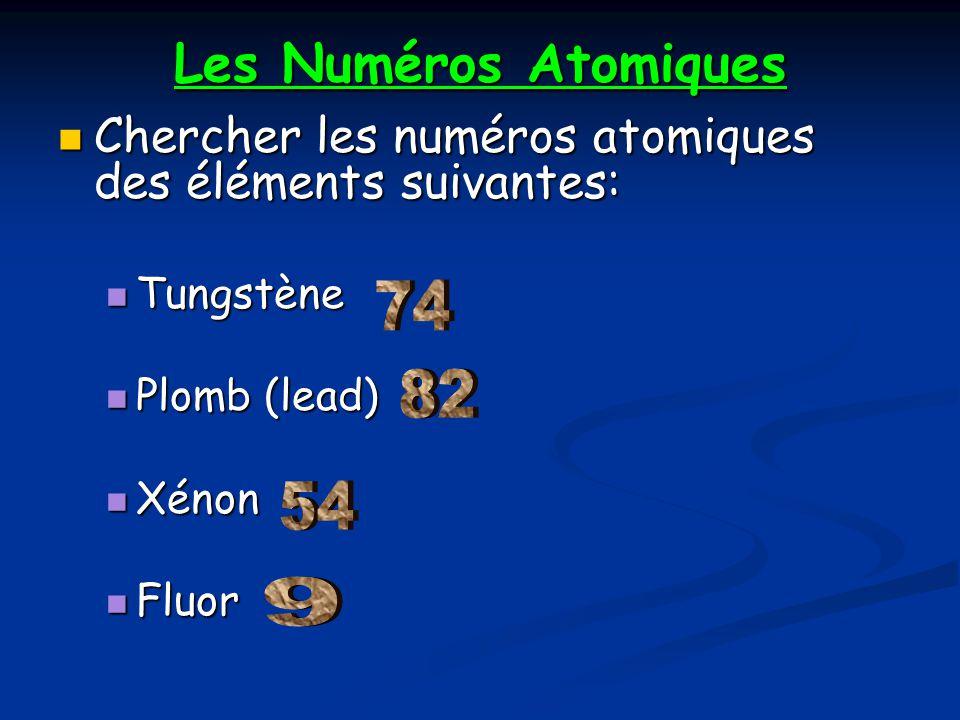 Les Numéros Atomiques Chercher les numéros atomiques des éléments suivantes: Tungstène. Plomb (lead)