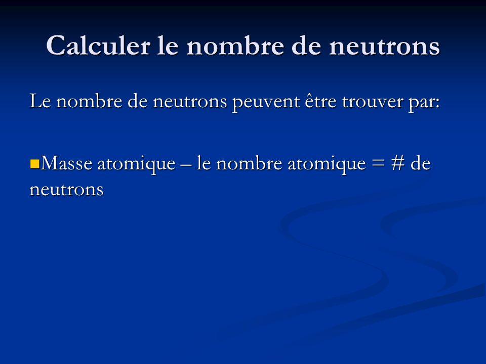 Calculer le nombre de neutrons