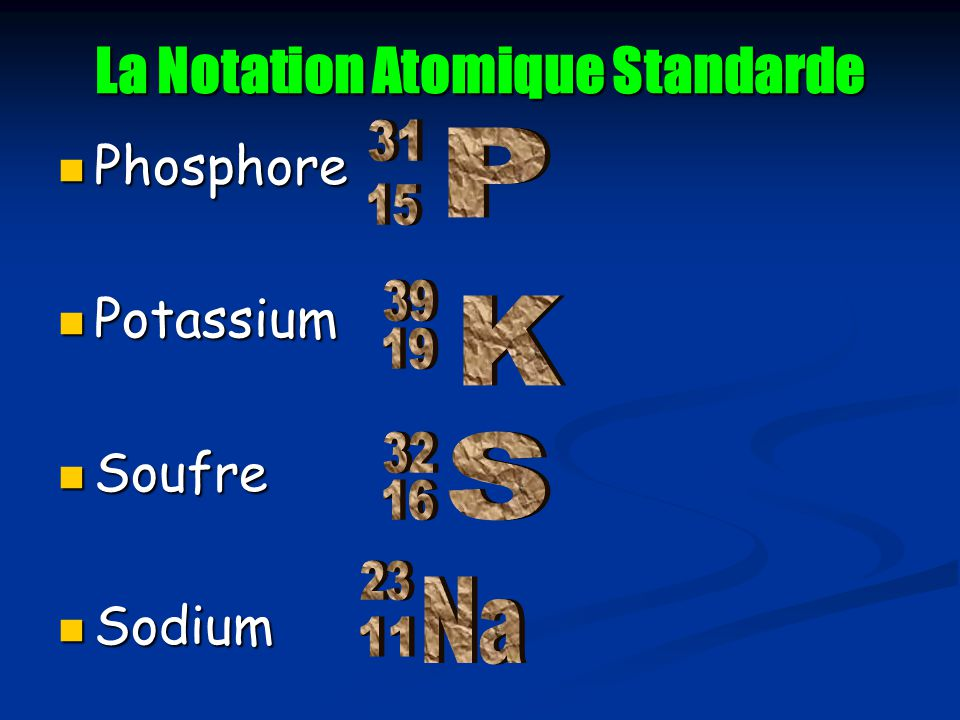 La Notation Atomique Standarde