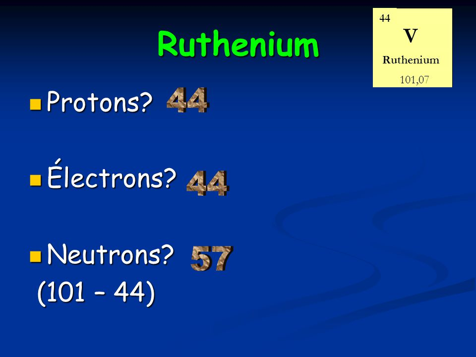 Ruthenium Protons Électrons Neutrons (101 – 44) 44 44 57 V 44