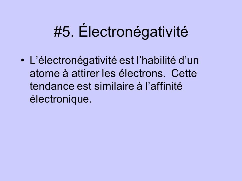 #5. Électronégativité L'électronégativité est l'habilité d'un atome à attirer les électrons.
