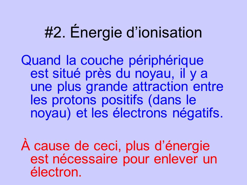 #2. Énergie d'ionisation