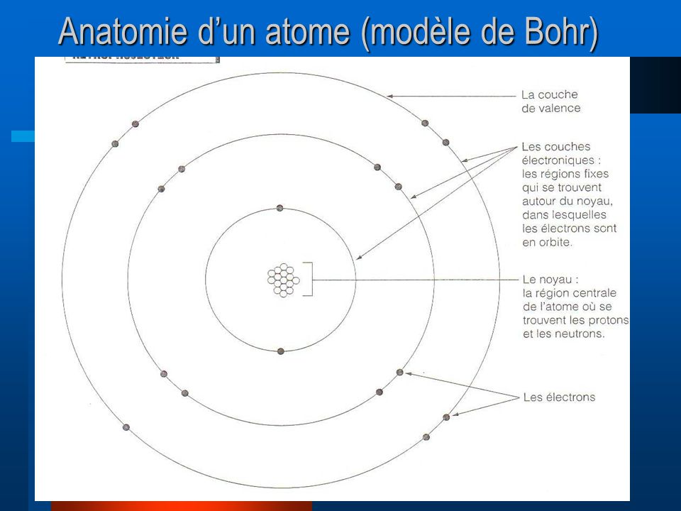 Anatomie d'un atome (modèle de Bohr)