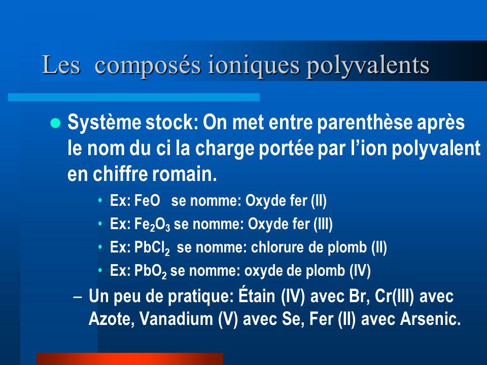 Les composés ioniques polyvalents