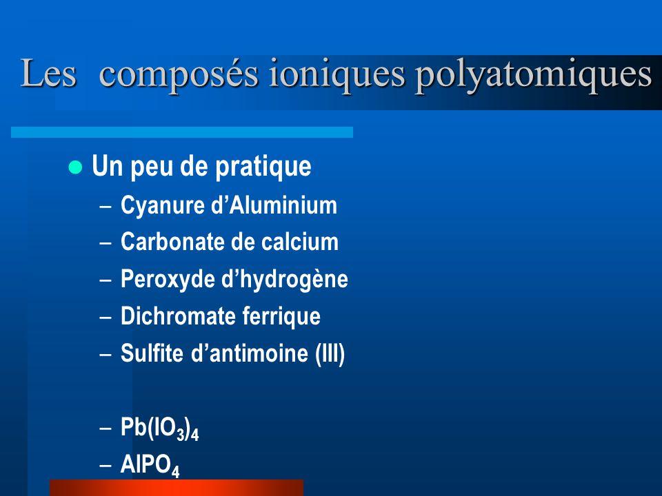 Les composés ioniques polyatomiques