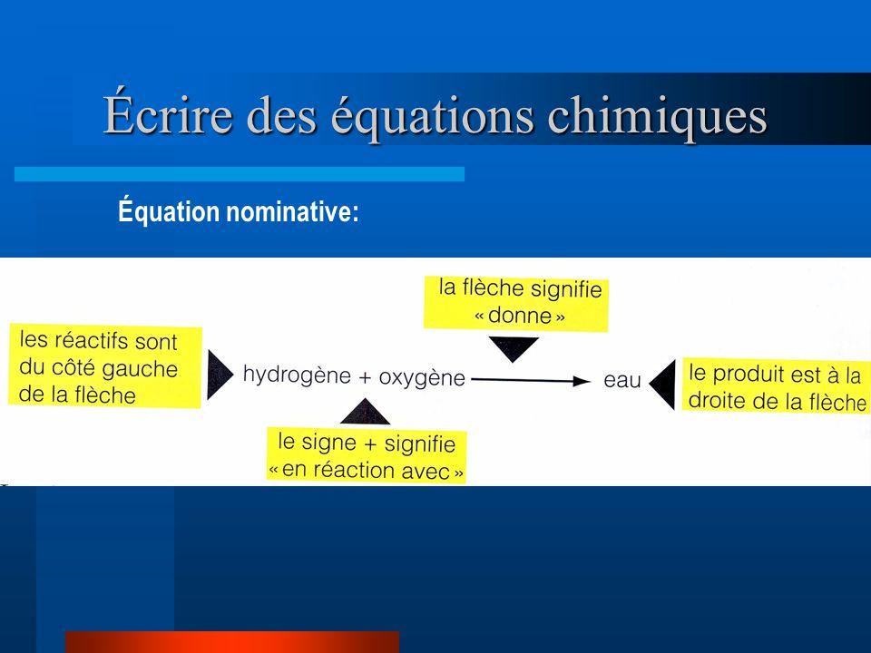 Écrire des équations chimiques