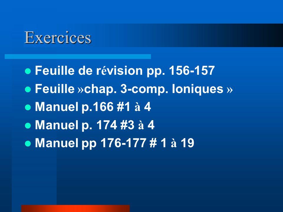 Exercices Feuille de révision pp. 156-157