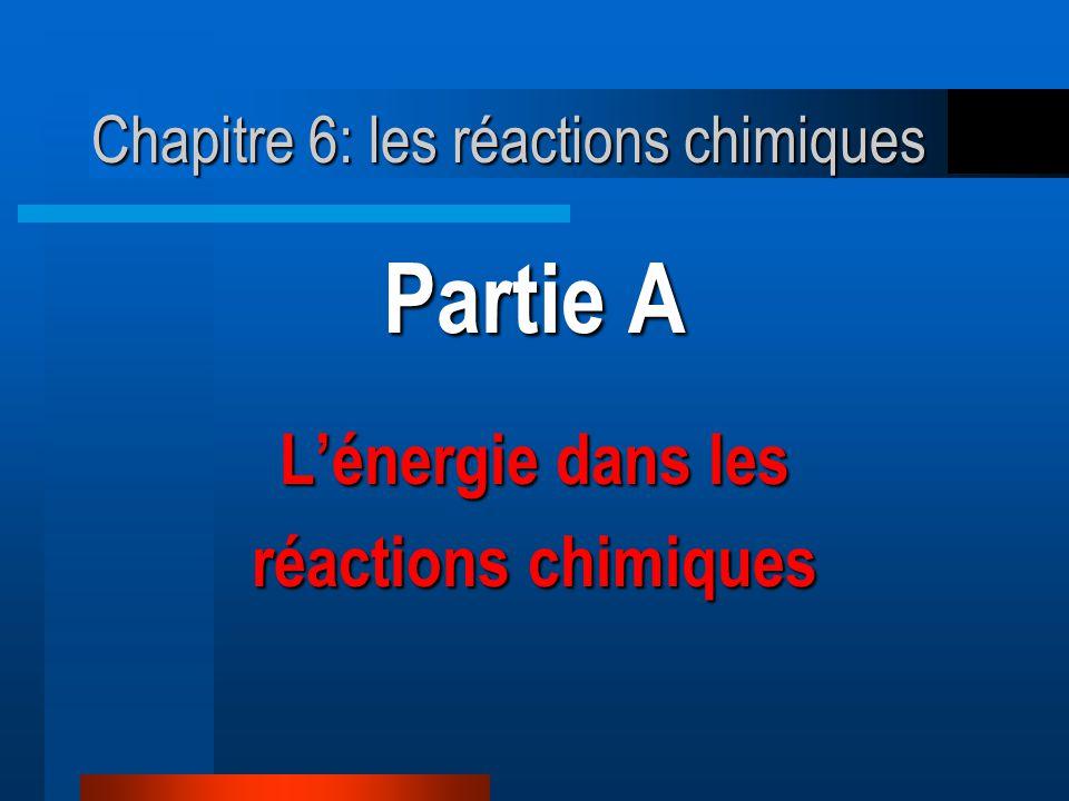 Chapitre 6: les réactions chimiques