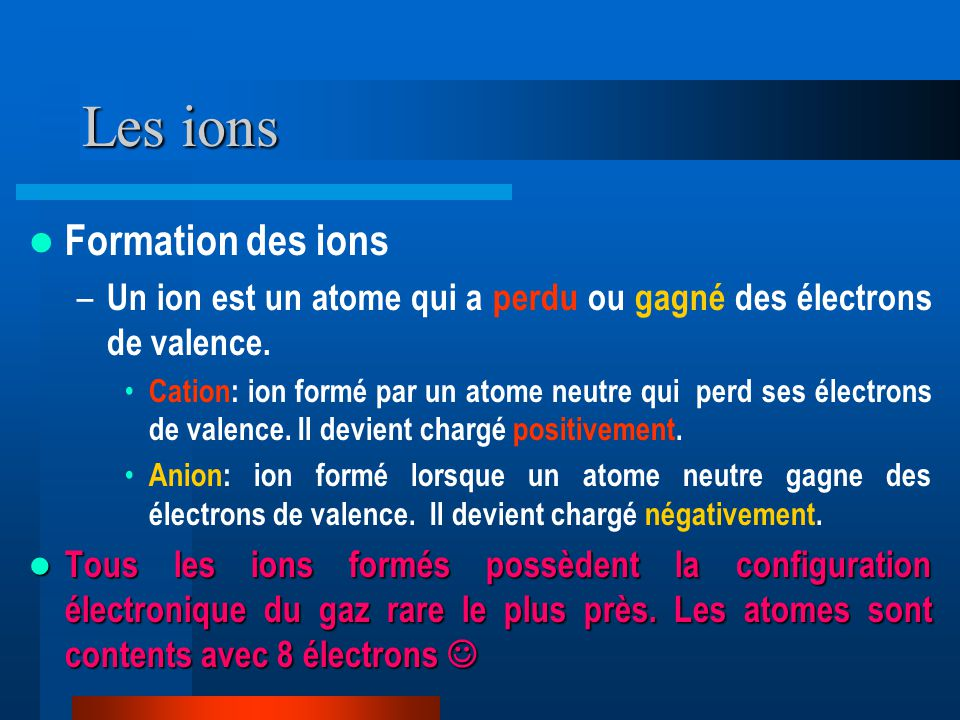 Les ions Formation des ions