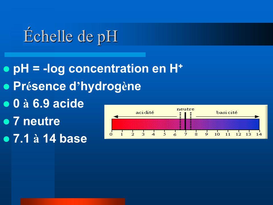 Échelle de pH pH = -log concentration en H+ Présence d'hydrogène