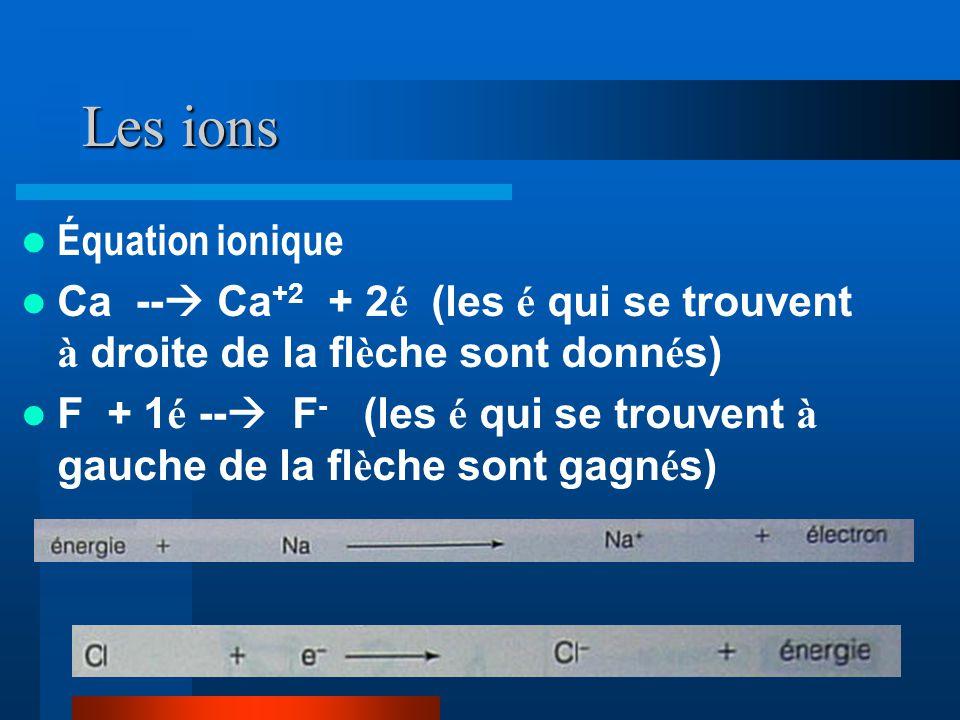 Les ions Équation ionique
