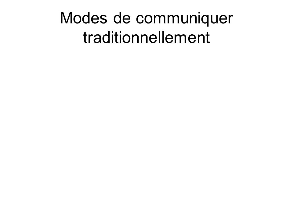 Modes de communiquer traditionnellement