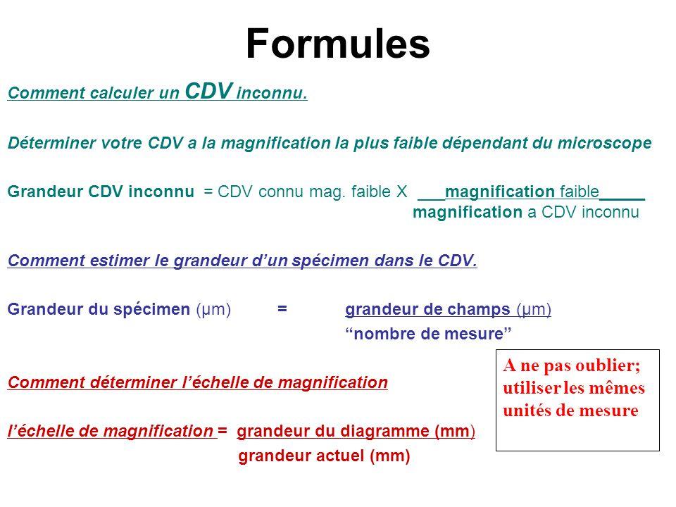 Formules A ne pas oublier; utiliser les mêmes unités de mesure