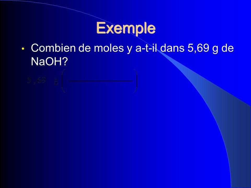 Exemple Combien de moles y a-t-il dans 5,69 g de NaOH 16