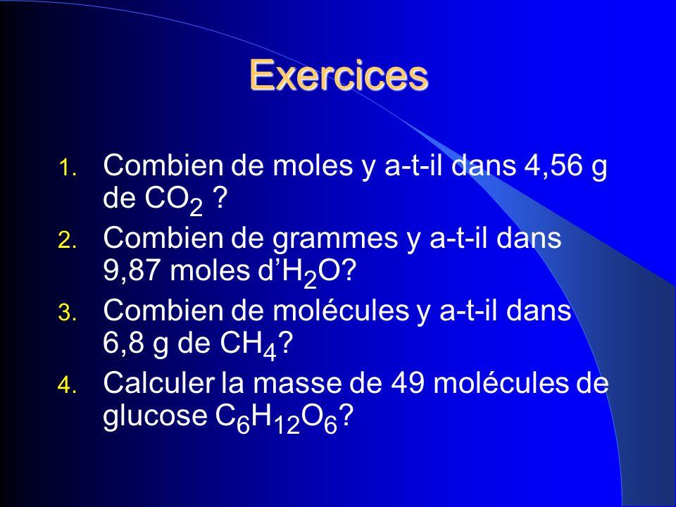Exercices Combien de moles y a-t-il dans 4,56 g de CO2