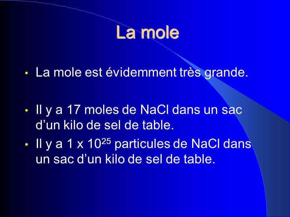 La mole La mole est évidemment très grande.