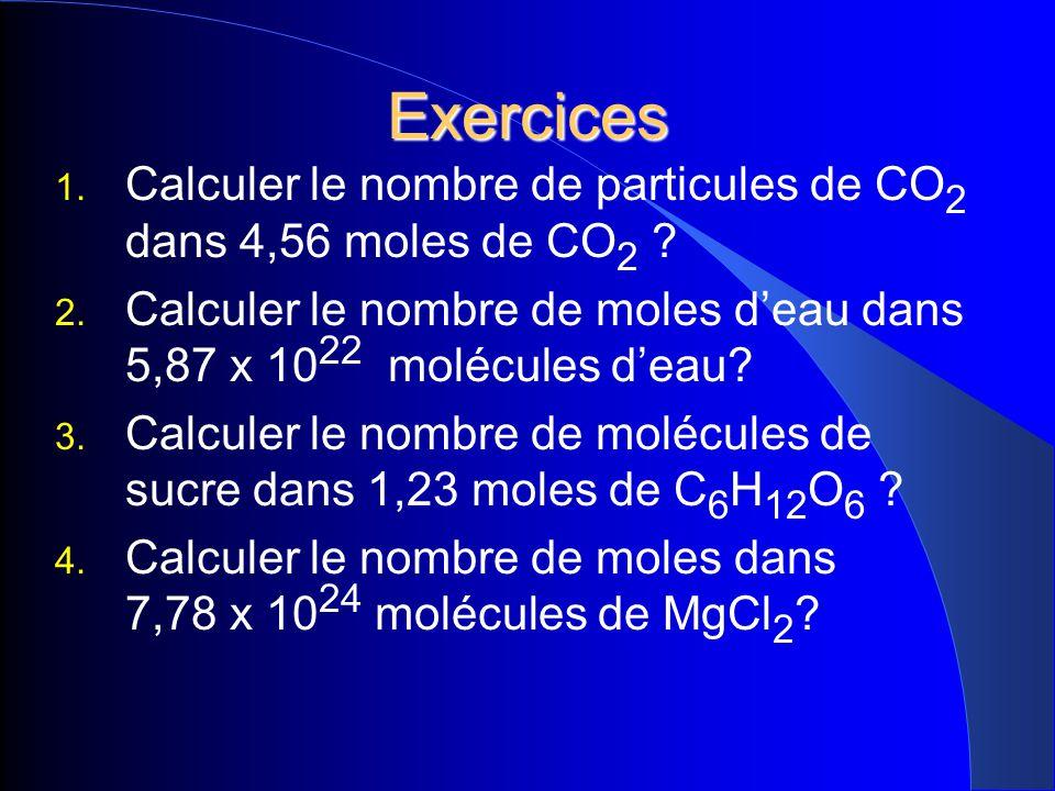 Exercices Calculer le nombre de particules de CO2 dans 4,56 moles de CO2 Calculer le nombre de moles d'eau dans 5,87 x 1022 molécules d'eau