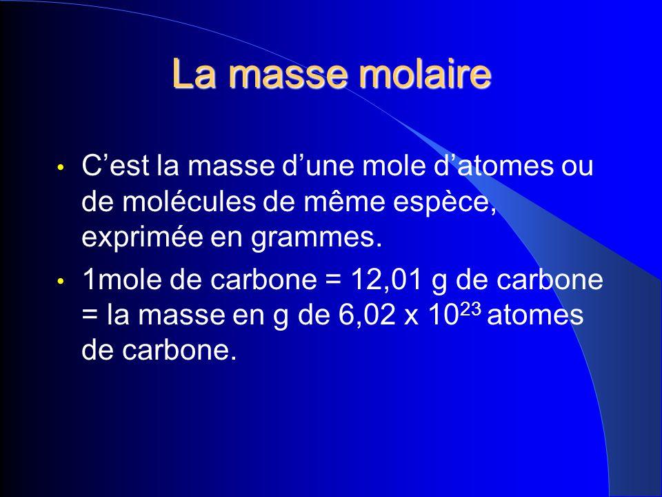 La masse molaire C'est la masse d'une mole d'atomes ou de molécules de même espèce, exprimée en grammes.