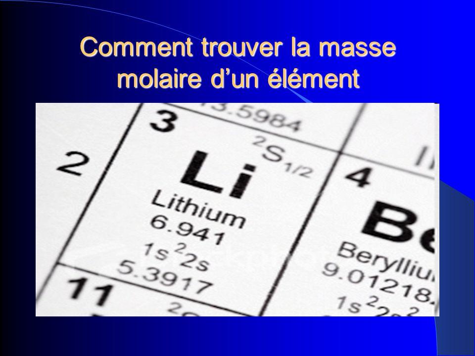 Comment trouver la masse molaire d'un élément