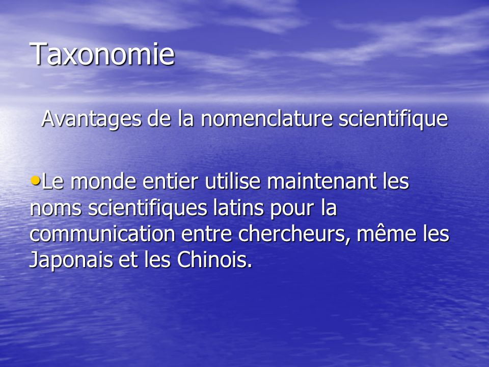 Avantages de la nomenclature scientifique