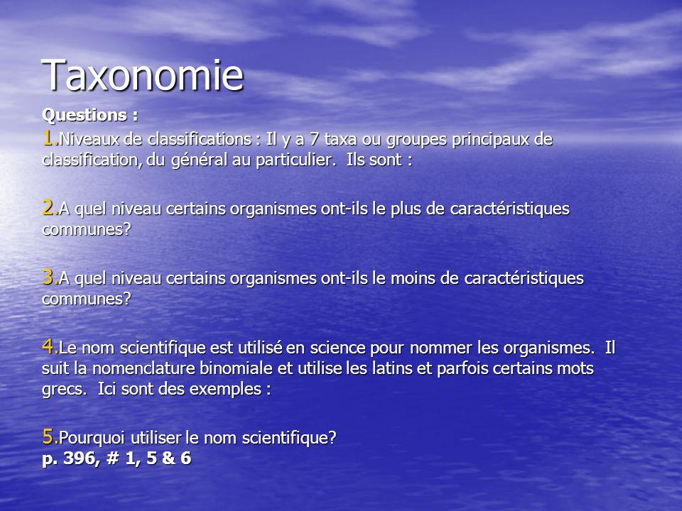 Taxonomie Questions : Niveaux de classifications : Il y a 7 taxa ou groupes principaux de classification, du général au particulier. Ils sont :