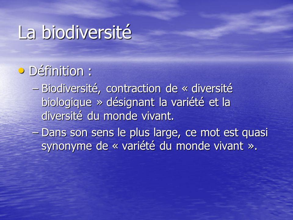 La biodiversité Définition :