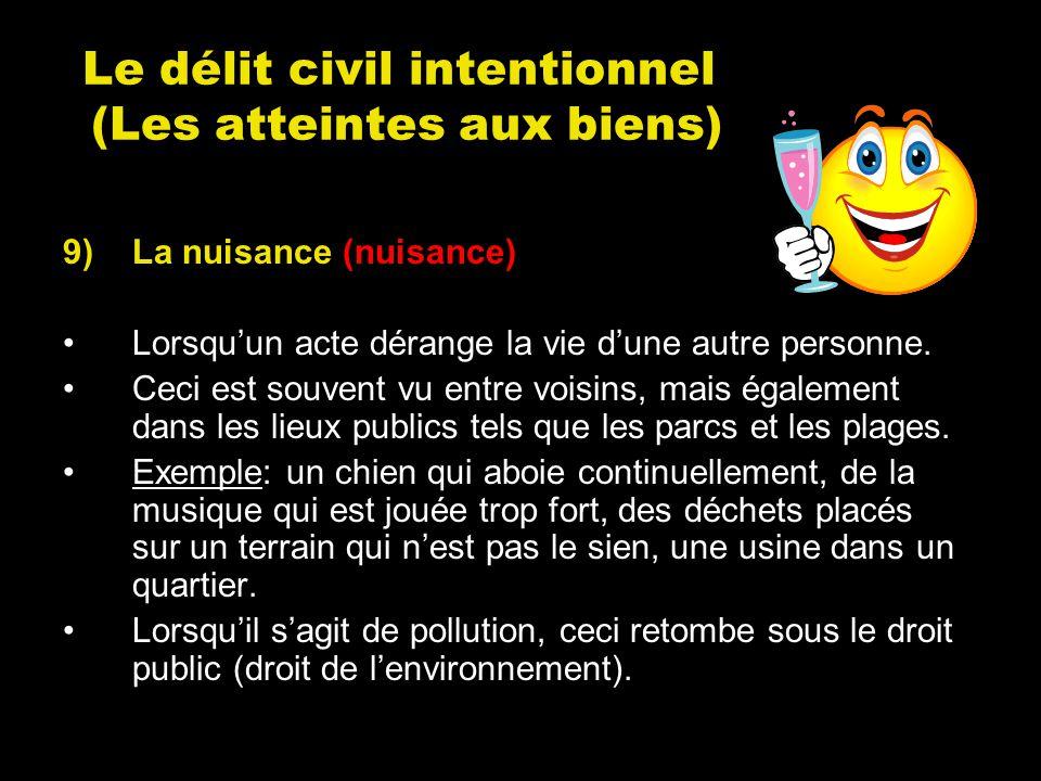 Le délit civil intentionnel (Les atteintes aux biens)