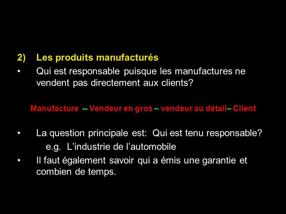 Manufacture -- Vendeur en gros – vendeur au détail– Client