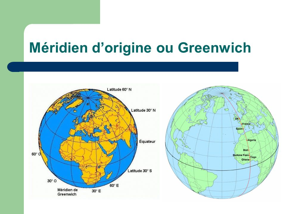 Méridien d'origine ou Greenwich